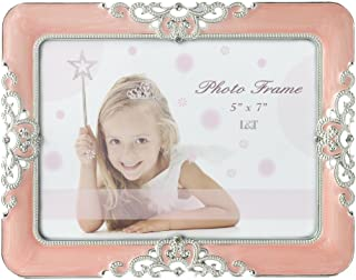 L&T Pink Enamel Picture Frame Metal with Silver Plated and Jewels,Vintage Style 5 x 7 Inch
