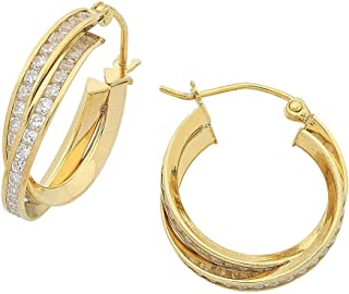 Bevilles 9ct Yellow Gold Silver Infused Cubic Zirconia Double Hoop Earrings 15mm
