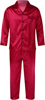 FEESHOW Men Satin Sleepwear Two-Piece Solid Color Notched Collar Pocket Button Tops with Long Pants Nightwear