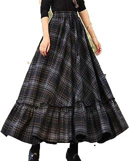 Faldas de las Mujeres Cuadros 2020 Otoño Invierno Retro Cintura Alta Casual Maxi Femenina Flare Largo Plisado Oficina Seño...