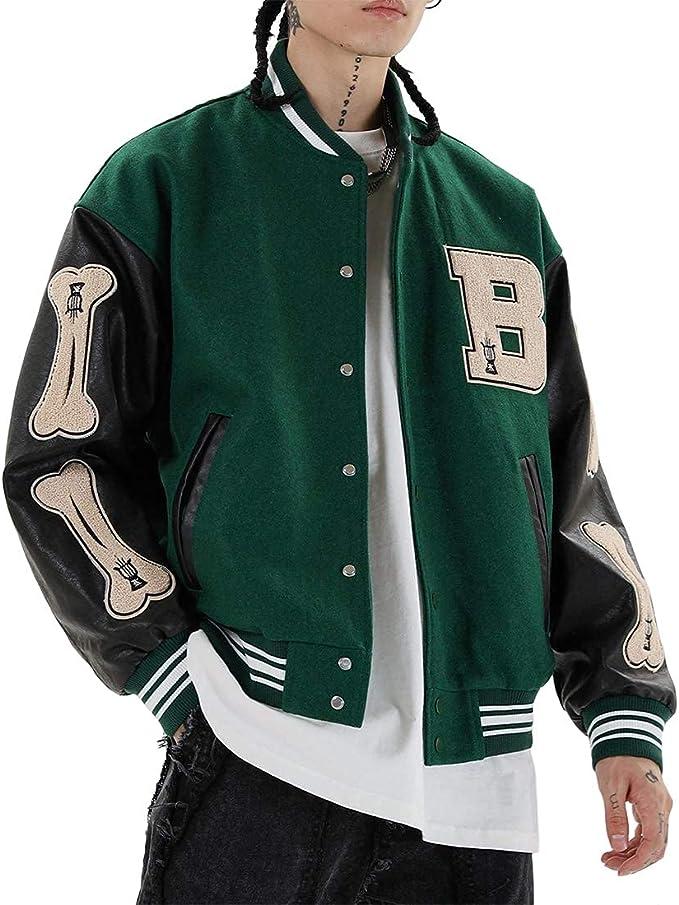 90s Outfits for Guys | Trendy, Party, Cool, Casaul Vamtac Mens Varsity Baseball Jacket Bomber Coats Cotton Fur Jackets Streetwear with Pocket  AT vintagedancer.com