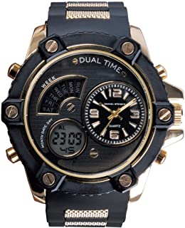 The Bolt Jet Black Hybrid Men's Watch - Analogue & Digital Dials - Durable Silicone Strap - Water Resistant