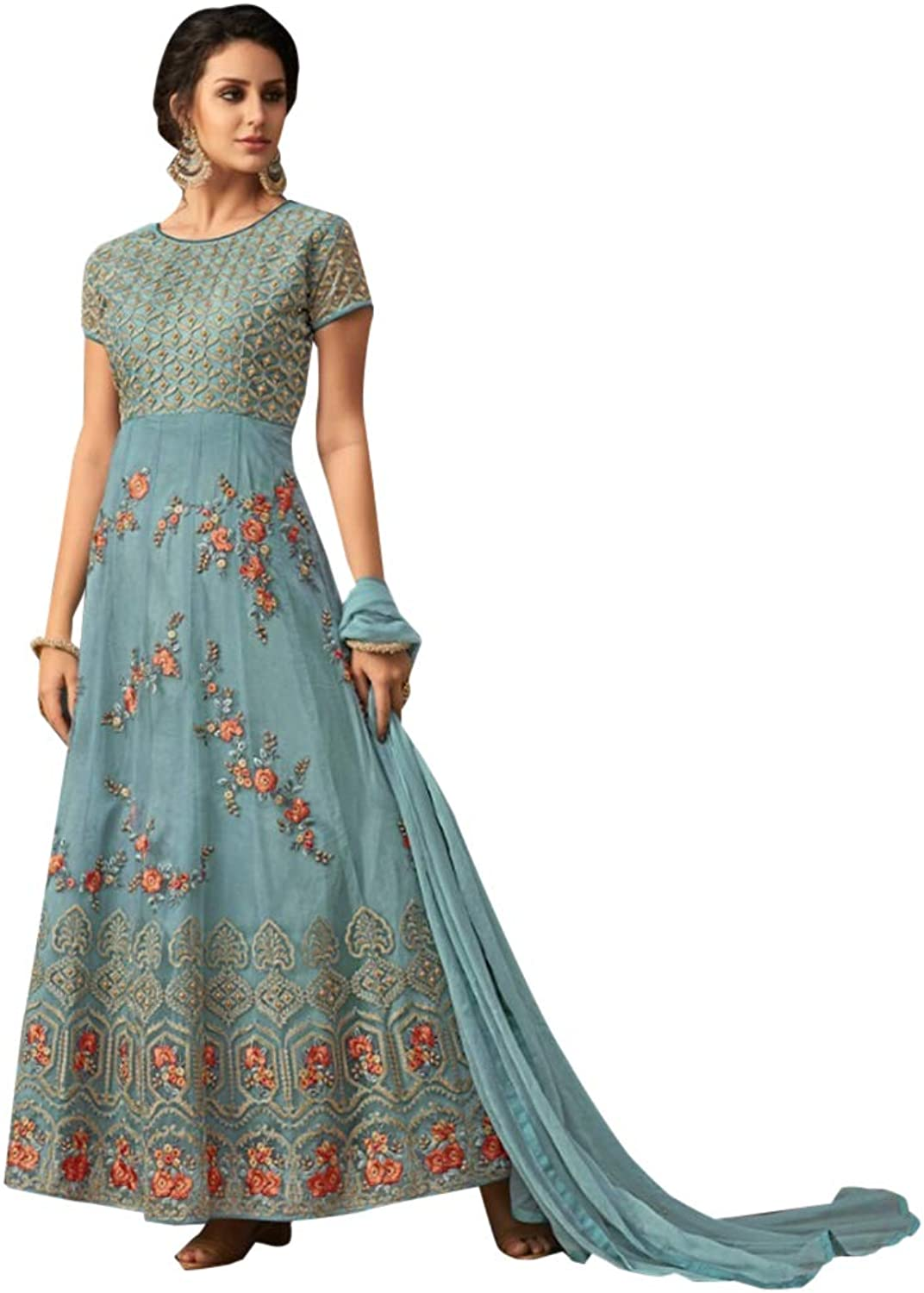 Indian Ethnic Heavy Floral Anarkali Salwar Kameez Suit Wedding Wear 7321