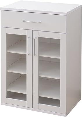 山善 食器棚 幅60×奥行39×高さ90cm コンパクト 一人暮らし 引き出し ガラス戸 棚板高さ調節可能 積み重ねても 組立品 ホワイト SYSK-9060DWG(WH)