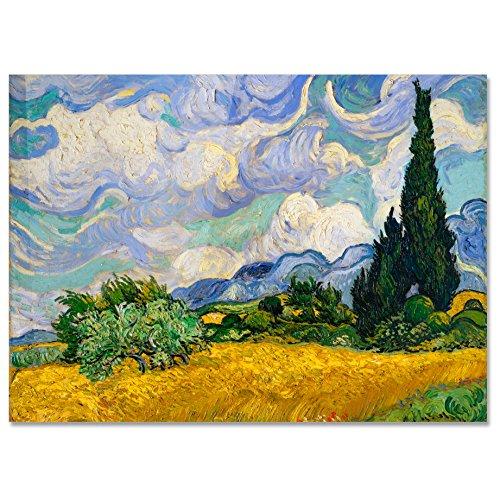LaMAGLIERIA Póster Van Gogh Wheat Field with Cypresses - Lámina fotográfica - Gran Formato, 50cmx70cm