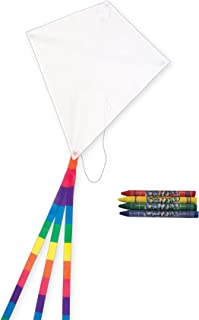 In the Breeze Coloring Diamond 20 Inch Kite - Single Line - Ripstop Fabric Kite - Includes Crayons, Kite Line and Bag - Creative Fun for Kids and Adults
