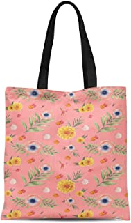 S4Sassy Gray chrysanthemum & Anemone Floral Print Canvas Shopping Tote Bag Carrying Handbag Casual Shoulder Bag 16x12 Inches