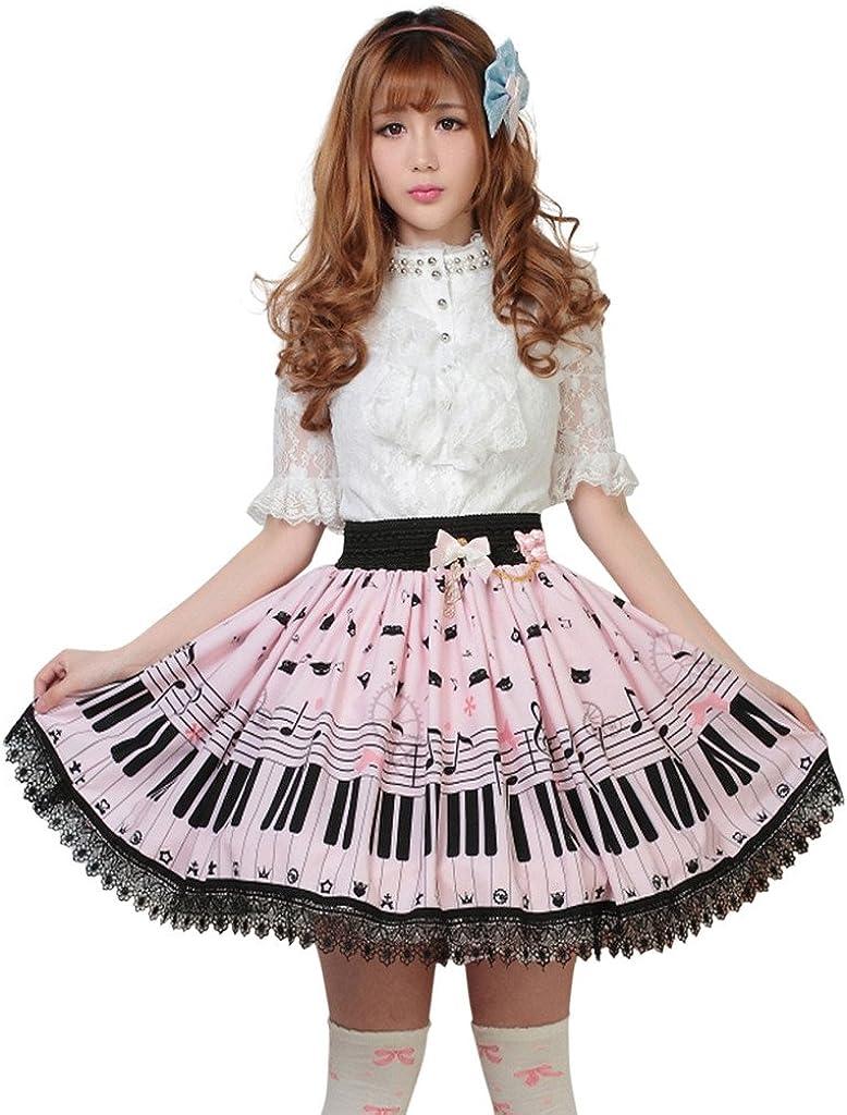 Hugme Pink Polyester Lace Piano Keybord Printed Lolita Skirt