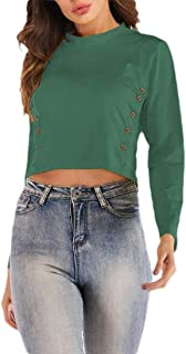 Agana Women Sexy Long Sleeve Cropped Button Tee Top T-Shirts