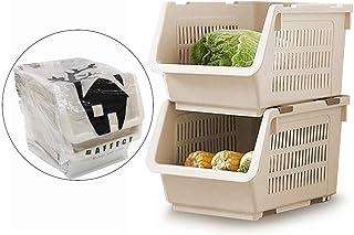 Panier de Rangement empilable à 2 Niveaux, paniers empilables Rangement de légumes Support de Rangement empilable en Plast...