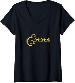 Femme Nom Emma Girl cadeau d'anniversaire personnalisé T-Shirt avec Col en V
