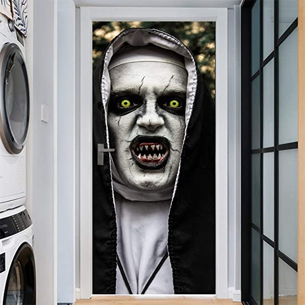 DIYC Door Mural Halloween Ghost Sticker Household 3D Wall Sticker Wallpaper Decal Horrible Skull Adhesive Room Decors Removable Home Decoration