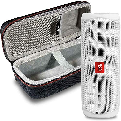 JBL FLIP 5 Portable Speaker IPX7 Waterproof On-The-Go Bundle with WRP Deluxe Hardshell Case (White)