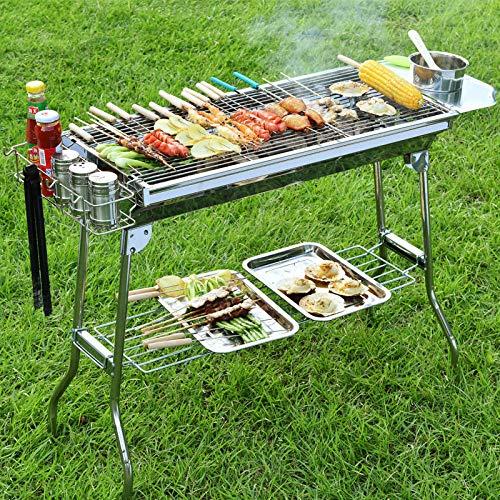 61AgctZYj3L - LGFSG BBQ Einfache Demontage Tragbarer Holzkohle-Grillrost Edelstahl-Klappgrillgrill Camping-Grillzubehör für 5-15 Personen, aktualisierte Version