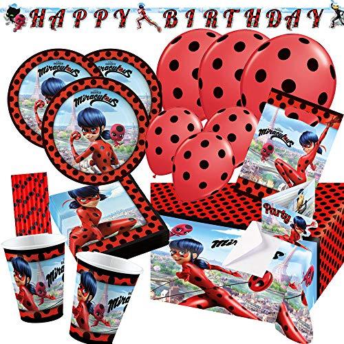 spielum Set de fiesta de 74 piezas de Miraculous Ladybug, platos, vasos, servilletas, guirnalda, bolsas, mantel, globos y pajitas para 8 niños
