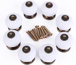 Set van 8 antieke design wit porselein meubelknoppen handgrepen knop meubelknop deurknop