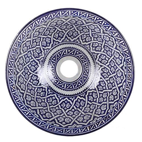 Orientalisches Keramik-Waschbecken Fes118 Ø 35 cm blau weiß | Marokkanische Aufsatzwaschbecken handbemalt Handwaschbecken für Küche Badezimmer Gäste-Bad | Einfach schöner Wohnen