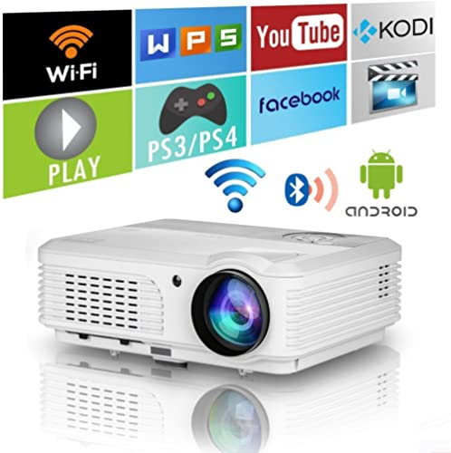 Home Wifi Projector with Bluetooth 4600 Lumens,Wxga HD LED LCD Movie Theater Projectors Wireless HDMI USB VGA AV Audi...