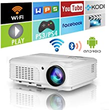 4400 Lumens LED Smart HD Wifi Video Projector with Bluetooth HDMI USB,WXGA Bluetooth Home Theater Wireless Projectors Support 1080P Airplay Miracast for iOS Android Phones Laptop PC DVD TV PS4 Outdoor