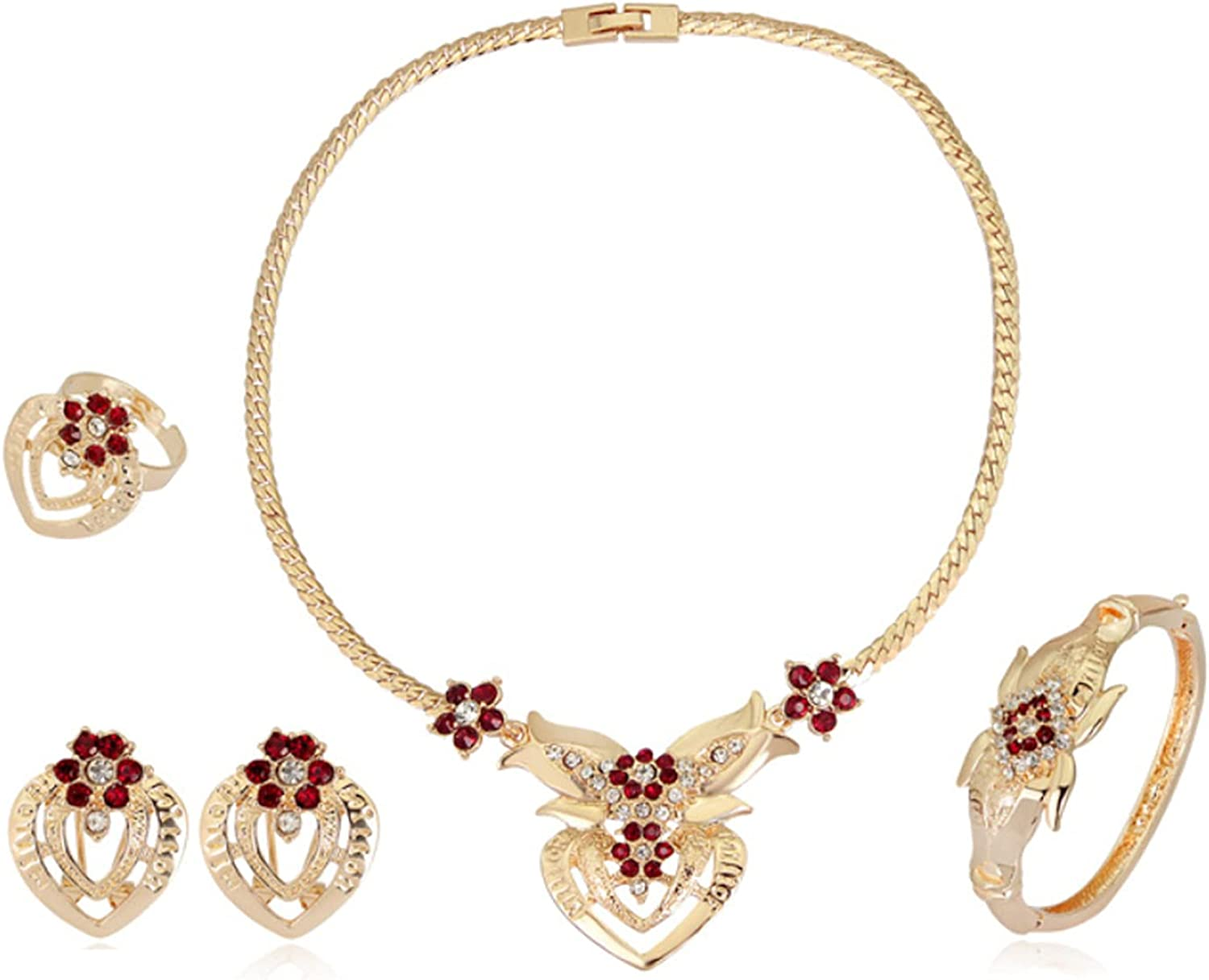 Jewelry Set for Women, Necklace Bracelet Earrings Ring Four-piece Suit Gold, Bridal Bridesmaid Wedding Banquet Dress Jewelrys