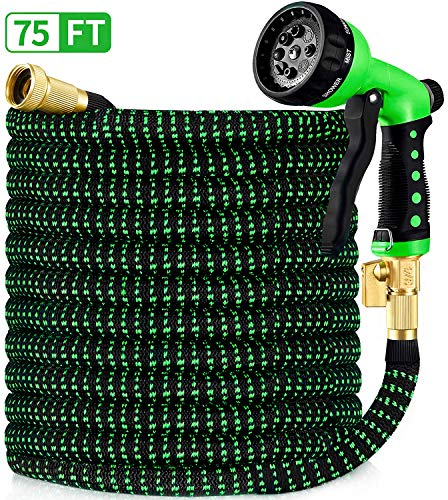 """HBlife 75ft Garden Hose, All New 2020 Expandable Water Hose with 3/4"""" Solid Brass Fittings, Extra Strength Fabric - Flexible Expanding Hose with Free Water Spray Nozzle"""