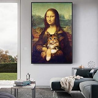 None brand Mona Lisa sosteniendo el Gato Divertido Arte Lienzo Pinturas en la Pared Arte Carteles Impresiones Famosos Cuadros de Arte 60x90cm Sin Marco