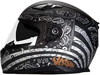Voss 988 Moto-1 Full Face Helmet America Graphic. Retractable Internal Eyeshade Quick Release DOT/ECE - XX-Large - Flat Silver