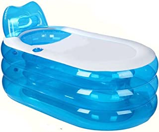 Portable Folding Inflatable Bathtub 145cm Blowup Adult Spa Pool Suitable for Children Kid,Baby,Old people Shower Inflatable Pool Bathroom Home SPA (Fully Inflated 57x31x26 Inches)(Blue)