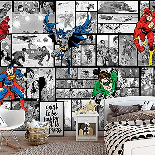 Papel Pintado De Superman Animado De Dibujos Animados De Estilo Americano, Fondo De Cabecera Para Dormitorio, Revestimiento De Paredes, Papel Tapiz Para Comedor