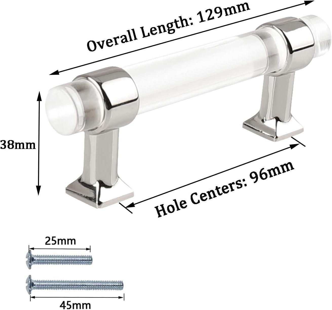 Schrankgriff PinLin K/üchent/ürgriffe 76mm Hole Centre Schrauben im Lieferumfang enthalten T-Griff silberfarben 5 St/ück transparentes Acryl