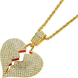 PAMTIER Men's Iced Out Full Diamond Broken Heart Pendant Necklace Chain Silver Gold