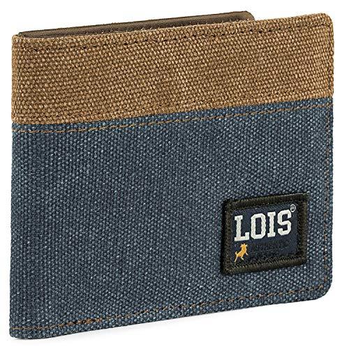 Lois - Cartera para Hombre Joven con Monedero, Billetera y Tarjetero. Marca LOIS con Protección Anti Escaneo RFID 203701, Color Azul
