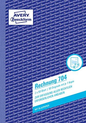 AVERY Zweckform 704 factuur (A5, met 1 vel blauw papier, 2 x 50 vellen) wit/wit