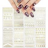 VETPW 8 Fogli Adesivi Unghie Nail Art Stickers, 3D Oro Adesivi per Unghie Autoadesivi Nail Art Decalcomanie Striping Tape line Decorazione Unghie, Unghie Manicure le Punte Decorazioni