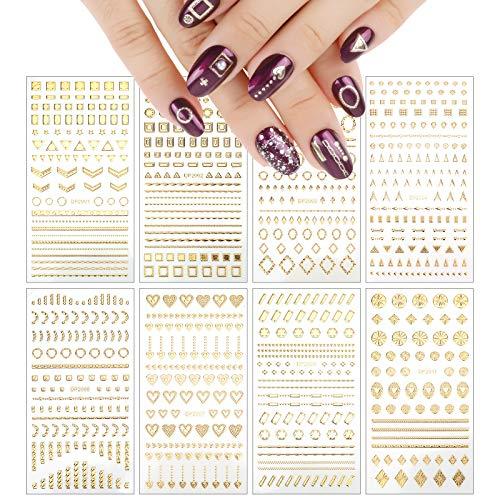 VETPW 8 Feuilles 3D Nail Stickers Ongles, Or Auto-Adhésif Autocollant D'art D'ongle Métallisé Nail Art Décalcomanies pour Décoration Ongles Bricolage