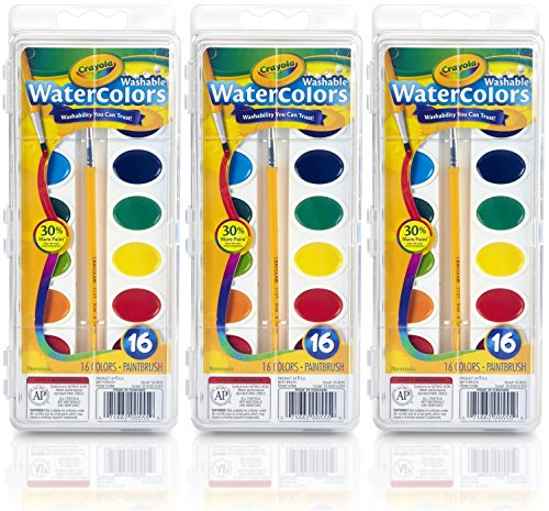 Crayola Washable Watercolor Paint, 16 Colors (Pack of 3)