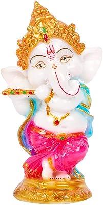 Divine Gift Marble Ganesha Marble Idol (Multicolor)
