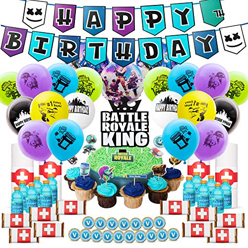 DMight Birthday Party Supplies for Game Fans,Video Game Party Decoration,121 Pcs Party Favors - Cake Topper, Bottle Label, Chocolate Sticker,...