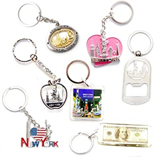 New York NYC NY Keychain Metal Key Ring Bundle Souvenir Gift Set 1 - Statue of Liberty,Empire State Building & More (Type A)