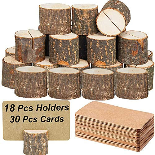 Toncoo 18Pcs Premium Wood Place Card Holders and 30Pcs Kraft Table Place Cards, Rustic Table Number Holders, Wood Photo Holders, Ideal for Wedding Party Table Name and More