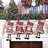 Medias de Navidad BESTZY 4PCS Christmas Stocking Calcetines Decoración Navideña Caramelo Regalo...