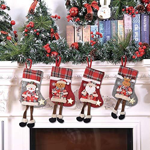 BESTZY Weihnachtsstrumpf 4PCS Nikolausstiefel Christmas Stocking Weihnachten Strumpf Beutel Hängende Strümpfe Weihnachtssocke Weihnachtsdeko zum Deko Befüllen und Aufhängen