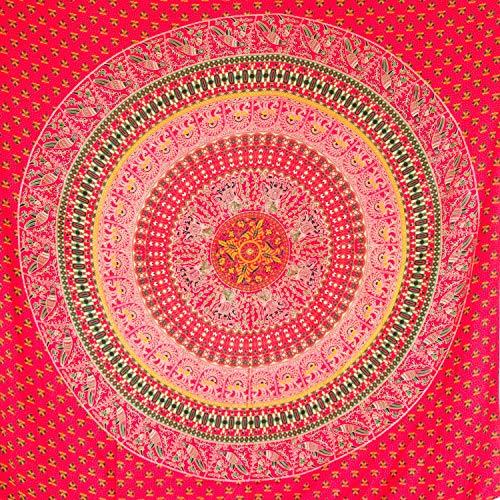 MOMOMUS Tapiz Mandala Étnico - 100% Algodón, Grande, Multiuso - Pareo/Toalla de Playa Gigante - Cubre Sofá/Cama - Telas para Decoración de Pared - 210x230 cm, Rojo