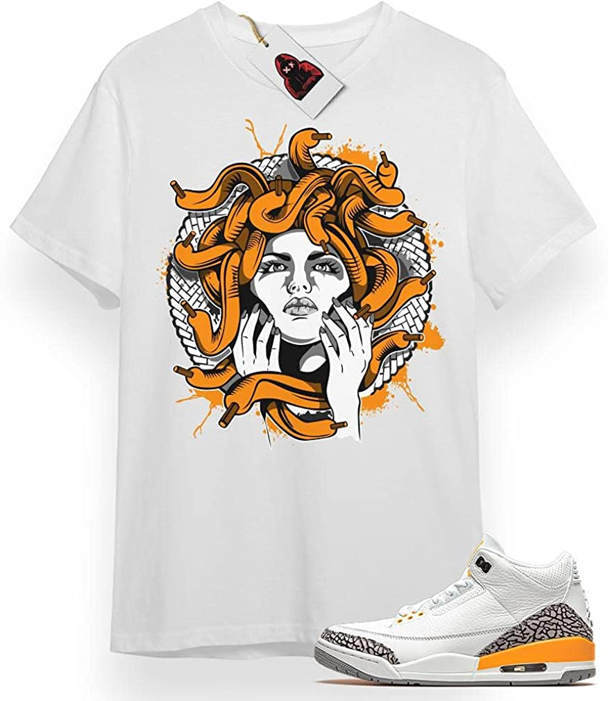 #Medusa White Shirt to Match Jordan Sneaker 3 Cheap mail order Rapid rise specialty store Gift Orange Laser