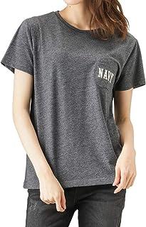 Navy(ネイビー) ポケット付きTシャツ 半袖Tシャツ クルーネックTシャツ EJ193-WC155 レディース