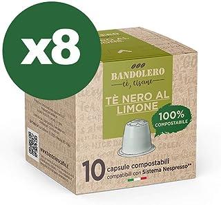 BANDOLERO 100% Compostable Made in Italy, 80 Cápsulas Compatibles con Nespresso, Té Negro con Limón del Cultivo Ecosostenible, Aroma Inconfundible para Cafetera Nespresso