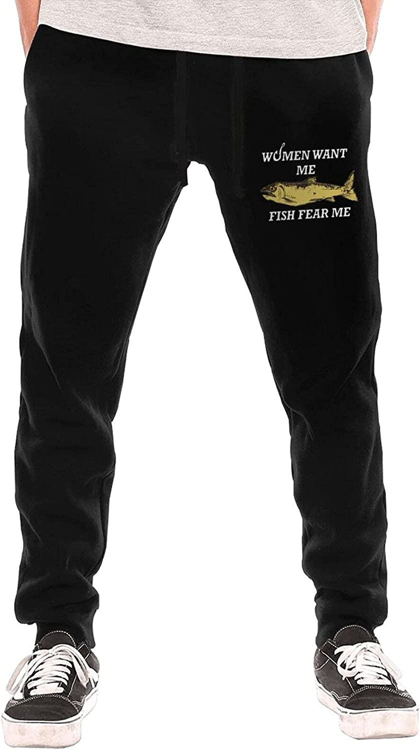 Women Want Me Fish Fear Sweatpant Joggers Pants Mens Ranking TOP1 Manufacturer direct delivery 3D