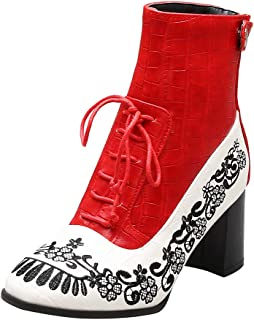 Vintage Ankle Boots for Women,Modern Fashion Chunky Heel Pointed Toe Embroidery Flowers Boots Lace Up Dress Boot