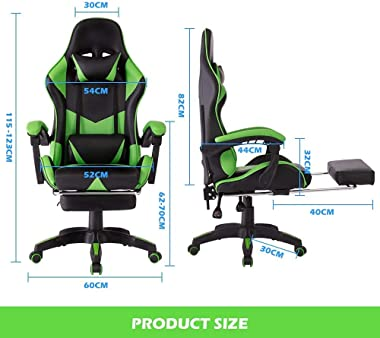 Advwin Gaming Chair Racing Office Chair, Ergonomic Computer Video Recliner Chair, Backrest and Height Adjustable (Headrest+Lu