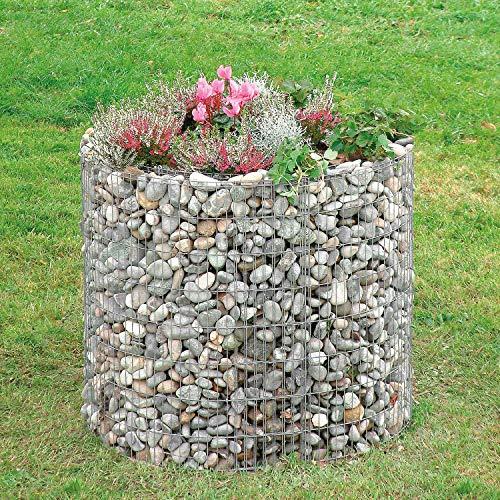bellissa Gabionen-Hochbeet rund - 95566 - Steinkorb-Pflanzkübel rund - Bausatz inkl. Trennfolie - Durchmesser 92/72 cm, Höhe 80 cm